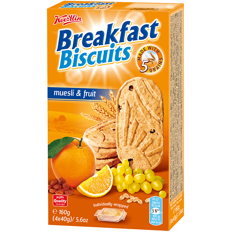 Breakfast biscuits - Muesli & Fruit(''Biscotti da colazione – Muesli e frutta'')