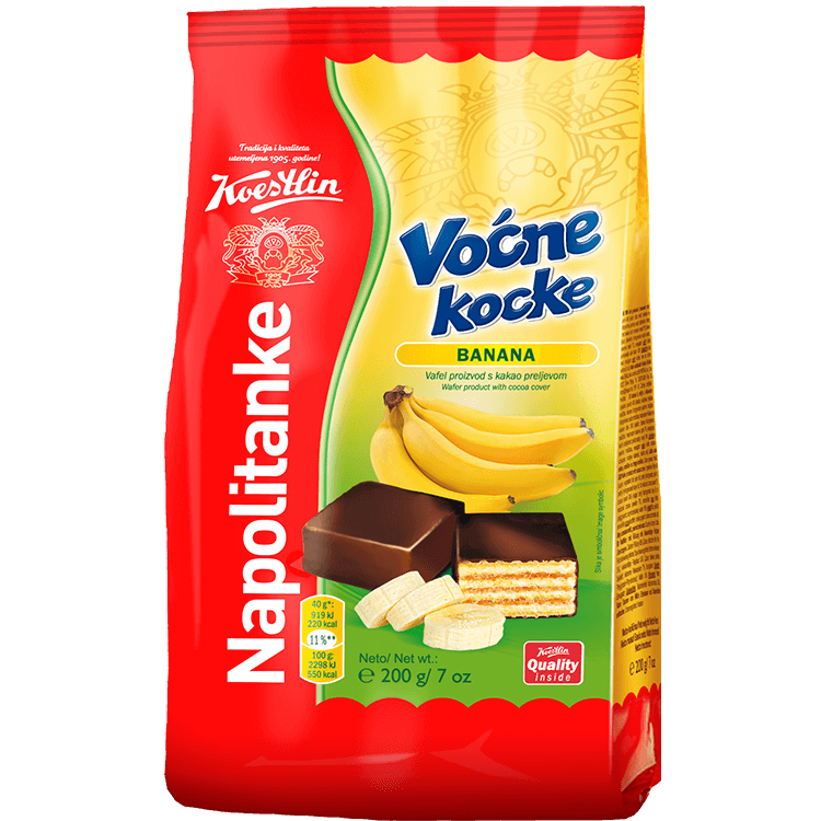 Napolitanke Voćne kocke banana(''Wafer cubetti di frutta banana'')
