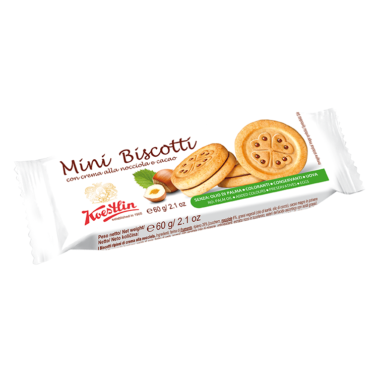 Filled tea biscuit with hazelnut